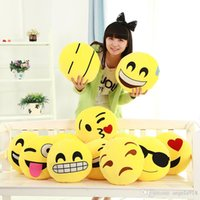 Wholesale Lovely Smiley - EMS 20 styles Diameter Cushion Cute Lovely Emoji Smiley Pillows Cartoon Cushion Pillows Yellow Round Pillow Stuffed Plush Toy C323