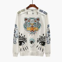 Wholesale Eye Print Sweatshirt - Tiger Head Embroidered Sweatshirts European Hot Brand K*Z* Paris printed eye sweater Shoulder zipper pure cotton terry hoodie unisex