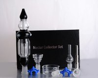 Wholesale mini bowling sets - Nectar Collector Set With Black Or White Mini Bongs and Curved 14mm Glass Bowl Titanium Nail Glass Cap