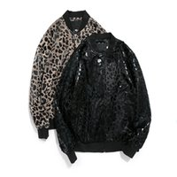 Wholesale Leopard Print Jackets Coats - Wholesale- Fashion Men Leopard Print Casual Stand Baseball Collar High Quality New Trend Coat Special Street Clothes Jacket Plus size 5XL
