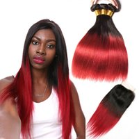 Wholesale Red Straight Weft Remy - Ombre Brazilian Hair Straight 1b Burgundy 99j Human Hair Weave Bundles with closure Colored Non Remy Red Hair Weft Extensions