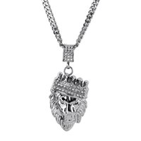 Wholesale Big Crystal Rock - Fashion Men Rock Hip Hop Lion Head Necklace Iced Out American Star Male Full Rhinestone Big Pendant Jewelry Long Chain For Men