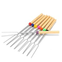 Wholesale Stainless Steel Forks - BBQ Forks Camping Campfire Stainless Steel Campground Lunch Tools Wooden Handle Telescoping Barbecue Roasting Fork Sticks Skewers