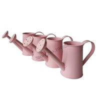 Wholesale Metal Toy Pots - Free shipping mini toy Watering Can garden bucket tin box Iron pots flower pot garden kettle pink