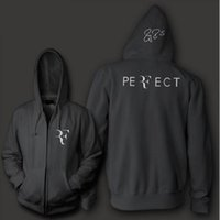 Wholesale Hoody Zip Sleeve - Roger Federer signature RF logo perfect men women unisex zip up hoodie Sweatshirt hoody Free Shipping