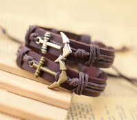 Wholesale Mens Leather Anchor Bracelets - anchor bracelet sports jewelry Fashion Handmade Wholesale adjustable Leather bracelets Braided Bracelets and Bangles mens  women jewelry