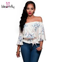 Wholesale Cheap Crop Top Tees - Women White Slash Neck Blouse Floral Print Sexy Crop Top Loose Cropped Tee Casual blusas feminino cheap clothes china ropa mujer