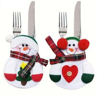 Wholesale Kids Party Table Cloths - 10pcs Christmas Decor Lovely Snowman Kitchen Tableware Holder Pocket Dinner Cutlery Bag Party Christmas table decoration cutlery sets