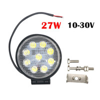 Wholesale Led Work Lamp 12v Round - Motor Lights 27W DC 12V 24V LED Work Light Flood Round LED Offroad Light Lamp Worklight for Off road Motorcycle Car Truck 6000K