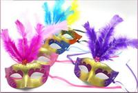 hacer la cabeza para el traje al por mayor-En venta Supper Mini Mask Mascarada veneciana Máscara de plumas decoración del partido lindo regalo de boda carnaval Mardi Gras Prop color de la mezcla