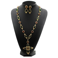 Wholesale metal austrian resale online - New famous design Austrian crystal Metal chain colorful stone pearl cross long sweater necklace vintage baroque necklaces