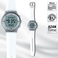 Wholesale Russian Automatic Watches - Wholesale-Automatic White Color Russian top selling azan alarm watch for islamic prayer time Azan Watch Prayer clock free shiping
