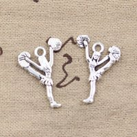 Wholesale- 99Cents 10pcs Charms cheerleaders cheering danse 26 * 17mm antiquité faisant ajustement pendentif, argent tibétain vintage, collier de bracelet de bricolage