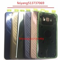 Wholesale Door Glass Sticker - 10pcs original Battery Door Back Housing Cover Glass Cover for Samsung Galaxy S8 G950 G950P S8 Plus G955 with Adhesive Sticker