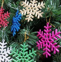 Wholesale Pink Snowflake Ornament - Christmas Decorations Christmas snowflakes 9CM  10CM bright pink snowflake film Christmas tree ornaments pendant 5 style for choose