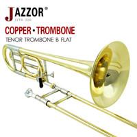 trombón al por mayor-Venta al por mayor a estrenar JAZZOR JZTB-320 Trombón de tenor, instrumentos de viento de latón B flat / F profesionales con boquilla de trombón, estuche, guantes