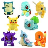 Wholesale Wholesale Stuffed Animals Pikachu - 8pcs Lot Poke Pocket Monsters Plush toys Pikachu Charmander Gengar Bulbasaur Squirtle Dragonite Snorlax Stuffed dolls kids toys Gift 12-17cm