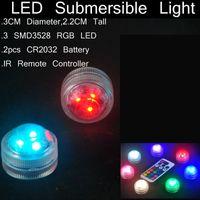 fischwasserlampe großhandel-Mini Wasserdichte LED-Leuchten mit Fernbedienung für Glasbongs Ölplattformen Shisha und Shisha Wasserpfeife und Aquarium Blumenvase Lampen