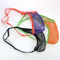 Wholesale Lace Man Thong - Mens String Pouch Sexy Thong G-string back Spiderweb spider Lace C-thru G4449 mens fun underwear