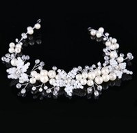 Wholesale Cross Barrette - Elegant Women Sliver jewelry pearl Hairband Vintage tiaras for Bridal Pear Jewelry Crystal Headband Hair Accessory Women Wedding Crown