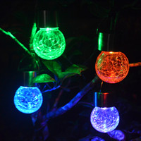 Wholesale Gazebo Lights - Crackle Glass Globe Solar Lights With Hanger colorful Solar Pathway Light Solar Globe Lights Gazebo Lights