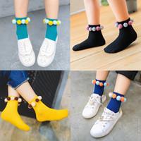 Wholesale Korean Plush Brands - 10 Candy Color Korean Princess Girls Socks Toddler Ankle Socks New Children Sock Girl's Leg Warmer Plush Ball Middle Socks For Girl A6358