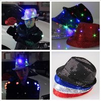 Wholesale Jazz Dresses - 7 Color Flashing Light Up Led Fedora Trilby Sequin Unisex Fancy Dress Dance Party Hat LED Unisex Hip-Hop Jazz Lamp Luminous Hat