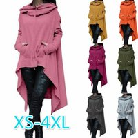 Wholesale Coat Drawing - Women Solid Color Draw Cord Coat Long Sleeve Loose Casual Poncho Coat Hooded Sweatshirts Ladies Autumn Coat