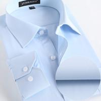 camisa de negocios de hierro al por mayor-Al por mayor-Camisas de los hombres Social 2017 Marca Primavera Formal No Iron Camisa de vestir sólido de manga larga de negocios para hombre Camisas para hombre con el botón X020