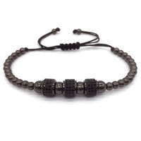 Wholesale macrame style bracelets - Fashion Luxury Gold Plated 3 Round Beads Macrame high quality Bracelet Micro inlay zircon Mens & Womens New Style Accessories