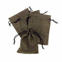 целые сумки оптовых-13 * 18 см льняная ткань шнурок мешок конфеты ювелирные изделия подарок мешок пакет мешок мешки подарок мешковины мешковины мешковины мешок мобильного питания сумки вся продажа