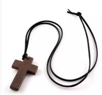 Wholesale Vintage Women S Necklace - Wooden Necklace Cross Korean Style Vintage Jewelry Pendant Simple Wooden Cross And Leather Rope Charm Fashion Women Necklace Sweater Chain S