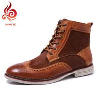 Wholesale Vintage Brogues - Wholesale- 2016 Winter Martin Boots Men Fashion Brogue Shoes Men Genuine Leather Ankle Boots Vintage Carving Men Boots Size:38-45 15A1705