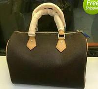 Wholesale Classic Design Handbag - Classic Speedy 30 35 medium Damier Azur With Strap Women pu leather handbag Brown Shoulder bag brand designs totes bags with lock