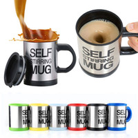 Wholesale Self Mixing Cup - Automatic Electric Self Stirring Mug Coffee Mixing Drinking Cup Stainless Steel 350ml Self Stirring Coffee Mug With Retail Box 170712