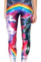 Wholesale Rainbow Leggings Tight - Digital printing Leggings Rainbow Unicorn sexy tight Leggings