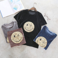 Wholesale Korean Basic T Shirt - Wholesale Summer New Fashion Women Loose Casual Simple O-neck T-shirts Female Korean Cartoon Short Sleeve Sequins Basic Tops Free Shipping