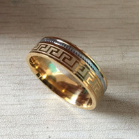 Wholesale Large Yellow Ring - Luxury large wide 8mm 316 Titanium Steel white yellow gold plated greece key wedding band ring men women silver gold 2 tone