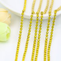 Wholesale Crystal Rhinestone Close Chain - Wholesale Crystal Citrine Rhinestone Close Cup Chain Gold Plated Setting For Jewelry Findings Makings, SS6.5-SS12, 3.5-5Meters pack
