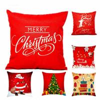 coloridas meias de natal venda por atacado-Decorações de Natal quente Para Casa 1 pcs Rena Juta Fronha Capa Merry Christmas Quadrado Linho Kerst Noel