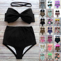 Wholesale Bra Swimwear - Sexy Swimwear Women Bikini Womens Vintage High Waist Padded Bra Bikini Set Floral Printed Swimwear Swimsuit