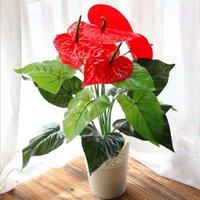 küçük yapay çiçekli bitkiler toptan satış-Büyük 18 Kafaları Yapay Çiçek Küçük Saksı Bitki Ipek Takım Büyük Saksı Antoryum Ofis Ev Bahçe Dekorasyon Bonsai Toptan