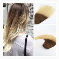 Ombre brazilian clip hair extensions canada best selling ombre ombre color 4613 best seling fashion style virgin remy hair straight human hair clip in hair extension 100g per bundle pmusecretfo Images