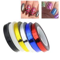 Wholesale Tape Nail Art Designs - Wholesale- Newly Design 1 Roll Women's Beauty Wave Nail Art Tips Decoration Roll Striping Tape Stickers 160325