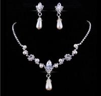 sistemas de la joyería de cristal de la boda al por mayor-Crystal Waterdrop Pearl Earring Necklace Set nupcial de Dama de honor de la boda Set de joyería de las mujeres Girls Prom Party accesorios de la joyería