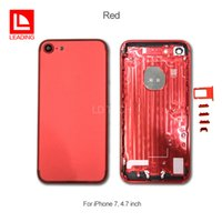 """Wholesale Tray Back - Red Back Battery Cover Housing For iPhone 7 4.7 inch 7 plus 5.5"""" Replacement Metal With Card Tray Buttons Free Shipping"""