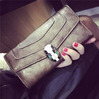 Wholesale Womens Large Wallets - Famous Brand Vebin Genuine Leather Female Hand Bag Fashion Europe Cowhide Leather Womens Long Wallet Large Capacity Best Quality