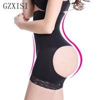 Wholesale Lace Booty Shorts - Wholesale- Solid Butt Lifter With Tummy Control Underwear Slimming Shorts Women Booty Lifter Sexy Lingerie Bottom With Lace Design