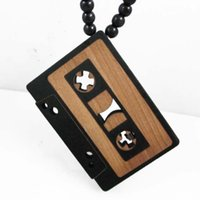 Wholesale Good Wood Necklaces Nyc - Cassette Tape Pendant NYC Good Wood Hip-Hop Wooden Fashion Necklace Wholesale