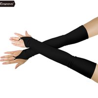 womens apparel accessories achat en gros de-Ensnovo Womens Stretchy Lycra Fingerless Over Elbow Opéra Long Spandex Gants 18 pouces Accessoires de vêtements Cosplay Custom